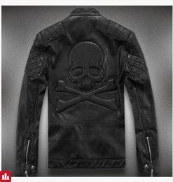 Hot ! High quality new Spring fashion leather jackets men, men's leather jacket brand motorcycle leather jackets skull