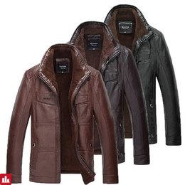 Mens PU Leather Jacket Stand Collar Velvet Thicker Warm Winter Coat Outwear Size XS-3XL