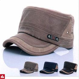 Unisex Cotton Blend Military Washed Baseball Cap Vintage Army Plain Flat Cadet Hat For Men Women