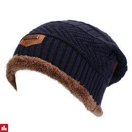 Men Male Knitted Slouch Beanie Hat Coral Fleece Linen Double Layers Elastic Moutaineering Outdoor Cap