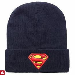 Fashionable Superhero Mark Embroidery Flanging Knitted Beanie For Men