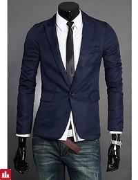 Men's Daily Work Simple Casual Spring Fall Blazer,Solid Notch Lapel Long Sleeve Regular Polyester
