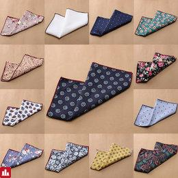 1 Pc Men Floral Cotton Pocket Square Handkerchief Wedding Hanky Suit Accessories