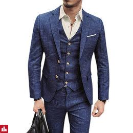 Mens Blue Plaid Fashion Slim Fit Blazer Groom Groomsmen Suit Three Pieces