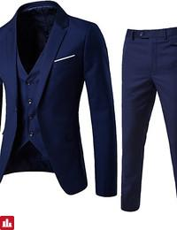 Men's Street chic Slim Suits - Solid Colored Notch Lapel