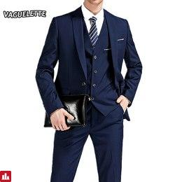 (Blazer+Pants+Vest) 3 Pieces Men Suit Slim Fit Wedding Business Wear Formal Men Suit Black Elegant Costume Mariage Homme M-4XL