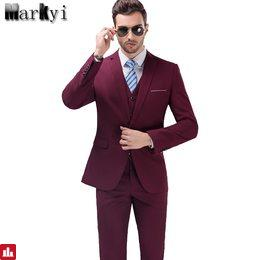 MarKyi 2017 Famous Brand Mens Suits Wedding Groom Plus Size 5XL 3 Pieces(Jacket+Vest+Pant) Slim Fit Casual Tuxedo Suit Male