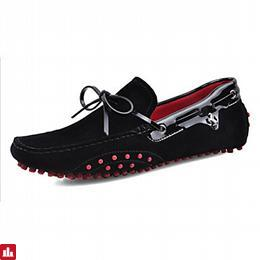 Men's Shoes Suede / Leatherette Spring / Summer / Fall Moccasin / Light Soles / Driving Shoes Boat Shoes Navy / Black / Red / Casual