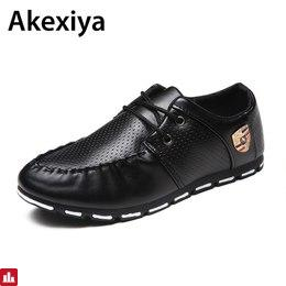 2018 Spring Autumn Black White PU Leather Shoes Men's Business Shoe Man Breathable Casual Shoes Moccasins Boat Flat Shoes AA35