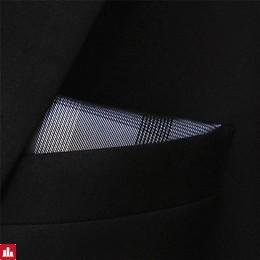Men's Pocket Square Checked Gray 100% Silk Business
