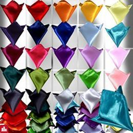 Classic Mens Silk Satin Pocket Plain Square Hanky Hankerchief For Wedding Prom