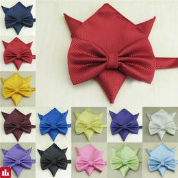 Men Bowtie  Pocket   Square Napkin A Set Butterfly Bowknot Wedding  Bowtie Business  Party    042