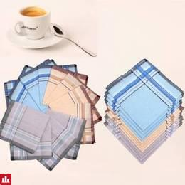 12Pcs Cotton Men Pocket Handkerchief Square Hanky For Wedding Party
