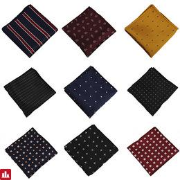 Mantieqingway Men's Suits Polyester Handkerchiefs Woven Floral Pocket Square Hankies Chest Towel Striped Wedding Pockets Towel