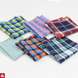 Hankerchief Scarves Vintage Hankies Men's Pocket Square Handkerchiefs Striped Solid Cotton Snot Rag 22*22 cm