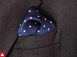 Free Shipping Dots Blue Navy White White Silk Hanky 100% Mens Jacquard Weave Pocket Square/party hankies/Hankerchiefs Wholesale