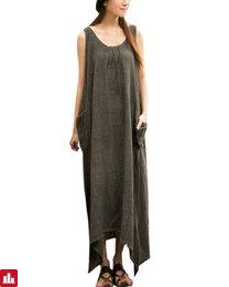 Vintage Casual Women Sleeveless High Low Cotton Maxi Dress