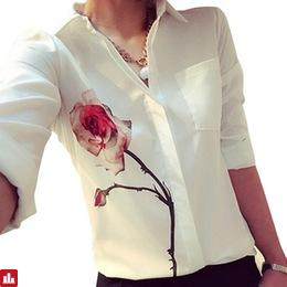 Chamsgend Newly Design Women's White Full Sleeve Rose Flower Printed Blouse Turn Down Collar Chiffon Shirts 160126 Drop Shipping