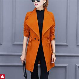 Women's Basic Trench Coat - Solid Colored