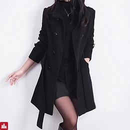 Women's Work Street chic Wool Trench Coat-Solid Colored Stand