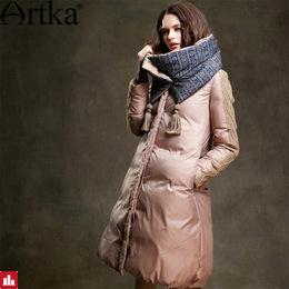 Artka Winter Jacket Women 90% Duck Down Coat 2018 Warm Parka Female Long Down Jacket Quilted Coat With Removable Scarf ZK15357D
