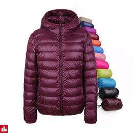 Women Down Coat 90% Duck Down Jacket Women Ultra Light Thin Winter Hooded Down Jackets UHLULC