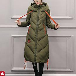 Women's Long Down Coat,Casual Daily Solid-Polyester Polypropylene Long Sleeves Hooded