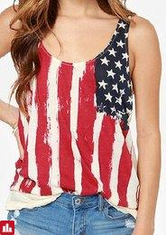 Stylish Scoop Neck Sleeveless Flag Print Tank Top For Women