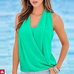 Women's Going out Plus Size Tank Top - Solid Colored Ruched V Neck