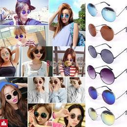 Retro Women Hippie Shades Metal Peace Sunglasses Classic Round Lens Reflective