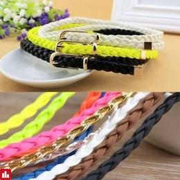 Women Ladies Braid Thin Narrow Skinny Wide Waist Belt Waistband Hogskin Leather Buckle