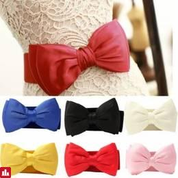 Women Ladies Chiffon Bowknot Elastic Bow Wide Stretch Buckle Waistband Waist Belt