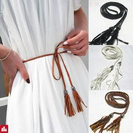 Women Ladies Waist Chain Belt Braided Tassels Thin Wild Bow Rope Knotted Decorative Waistband