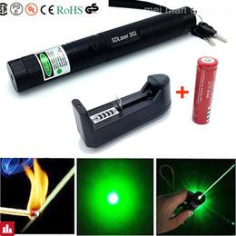 High Quality Powerful Green Laser Pen Aluminum Alloy 303 Lazer Pointer Presenter With Safe Key+18650 Battery+18650 Charger