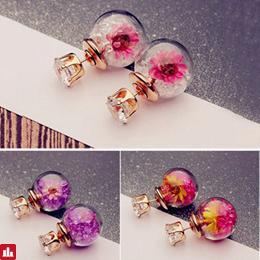 Trendy Colorful Rhinestone Glass Ball Flower Round Earrings Gift for Women