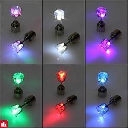 1pc Light Up Led Earring Ear Stud Dance Party Accessories