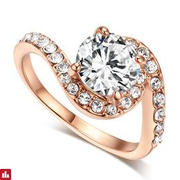 Top Quality ZYR078 Cubic Zirconia Wedding Jewelry Ring Rose Gold Color Austrian Crystals Full Sizes Wholesale