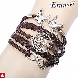 [$0.99] Women's Layered Charm Bracelet / Wrap Bracelet / Leather Bracelet - Leather Love, Infinity, life Tree Personalized, Basic, Multi Layer Bracelet Brown For Christmas Gifts / Gift / Daily