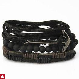 New Fashion accessory anchor Bead Leather Bracelets & bangles for Women 3/4 pcs 1 Set Multilayer Wristband Bracelet Men pulseira