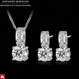 ANFASNI Shiny Fashion Large Discount Wedding Jewelry Set Silver Color AAA Zirconia Set Earring/Necklace Set For Women CST0002-B