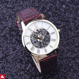 Watches Men Rreloj Hombre Golden hollow watch, Luxury Casual steel Business Imitate Mechanical Watch Male clock relogio