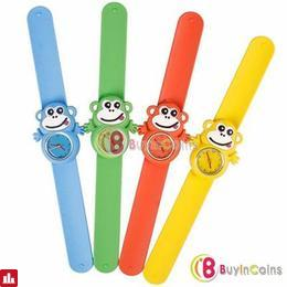 Children Boys Girls Cute Animal Monkey Slap Snap Rubber Bracelet Wrist Watch