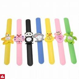 Lovely Kids Unisex Xmas Children Boys Girls Silicone 3D Cartoon Animal Strap Clap Band Quartz Wrist Watch Gift