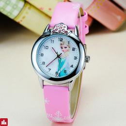 JOYROX Hot Princess Elsa Pattern Children Watch Fashion Crystal Cartoon Leather Strap Quartz Wristwatch Casual Girls Kids Clock