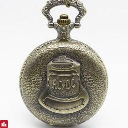 Vintage ACDC Hells Bell Theme Quartz Pocket Watch Necklace Pendant For Men Children Gifts