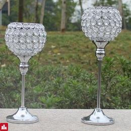 2pcs metal silver plated candle holder with crystals wedding candelabra/centerpiece decoration candlestick