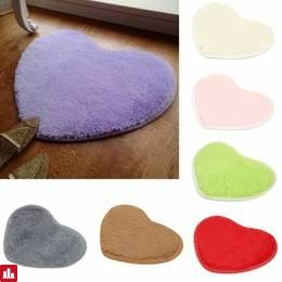 40x30cm Heart Shape Coral Velvet Absorbent Carpet Anti Slip Bath Mat Shaggy Floor Rug
