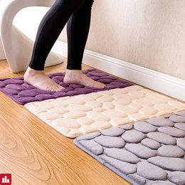 Honana BX-212 3D Pebbles Bath Rug Natural Absorbent Rubber Bath Mat Bottom Cotton Rebound Mat