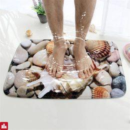 Honlaker 3D Seashell Bath Mat Flannel Absorbent Non Slip Doormat for Entrance Door