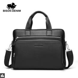 "BISON DENIM Genuine leather Briefcases 14"" Laptop Handbag Men's Business Crossbody Bag Messenger/Shoulder Bags for Men N2333-3"